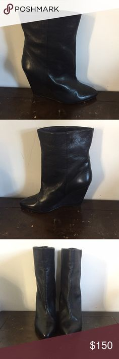IRO Jayel wedge boot 100% calfskin leather wedge boot. In excellent condition, light wear on the sole. Runs small, fits 9.5-10 IRO Shoes Ankle Boots & Booties