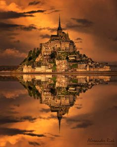 Golden Stronghold over Mont Saint Michel :: Normandy :: France _by Alexander Riek Mont Saint Michel France, Le Mont St Michel, Beautiful Castles, Beautiful World, Beautiful Places, Paris Travel, France Travel, Places Around The World, Around The Worlds