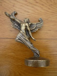 Vintage Art'Deco Winged Woman Hood Ornament Car Mascot Radiator Cap Bronze | eBay