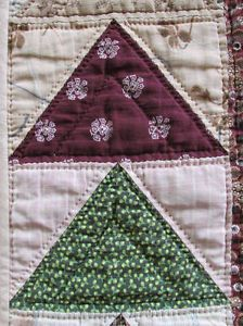 "Primitive c1870 Antique Table Runner Quilt 39X 15"" Flying Geese 