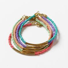 Image of Gold Tube Seed Bead Bracelet Set