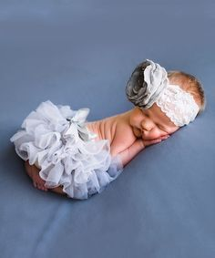 $27.99 from ellasbows.etsy.com...Loving this Gray Floral Lace Headband & Bloomers on #zulily! #zulilyfinds
