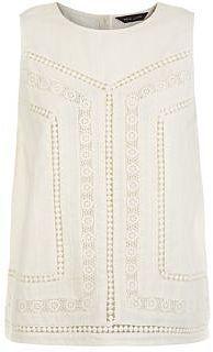 Womens cream crochet sleeveless top from New Look - £17.99 at ClothingByColour.com