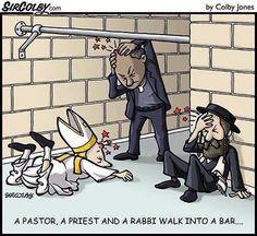 My Favorite Walked Into A Bar Jokes Are Corny, Hilarious, And Even Educational - Deb Runs Christian Cartoons, Christian Jokes, Memes Humor, Funny Cartoons, Funny Comics, Cartoon Humor, Oi Jesus, Haha Funny, Funny Jokes