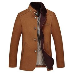 Fashion Busienss Mid Long Woolen Stand Collar Trench Coats for Mensales-NewChic Mobile