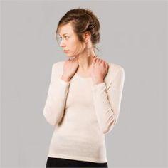 Camiseta interior manga larga pieles sensibles lana y seda orgánica Living Crafts