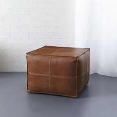 leather pouf  | CB2 / A PAIR FOR THE TV ROOM / QUASI GUEST ROOM AS FOOT RESTS / ADDITIONAL SEATING, AND THEN NIGHTSTANDS WITH TRAYS ON TOP.