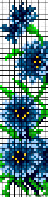 Pixel pattern (perler beads, hama, cross stitch) blue flowers on a vine.