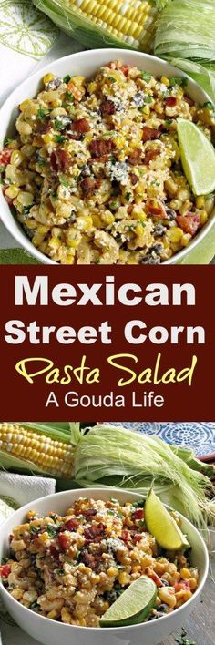 Mexican Street Corn Pasta Salad: fresh sweet corn sauteed in BACON, mixed with pasta, tomatoes, black beans & peppers in a creamy slightly spice dressing. #Mexican #streetcorn #corn