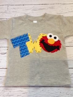 elmo birthday shirt two 2nd girl boy t shirt | Etsy