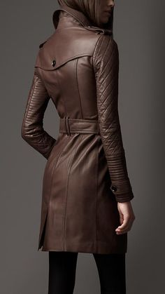 Long Leather Quilted Sleeve Trench Coat | Burberry | Drool!
