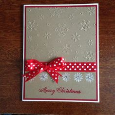 Christmas handmade card, brown, red, snowflakes, stamp, white, ribbon