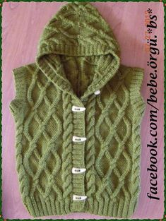 : crochet kids coats and two needles . Baby Knitting Patterns, Knitting For Kids, Crochet For Kids, Knitted Baby Cardigan, Crochet Baby Boots, Matching Sweaters, Baby Sweaters, Crochet Vest Pattern, Knit Crochet