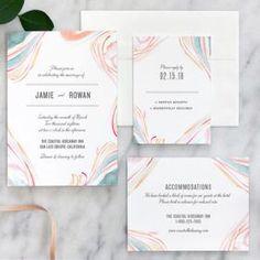 Marble Watercolor Wedding Invitations