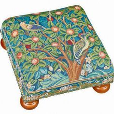 William Morris Tapestry Footstool - Woodpecker