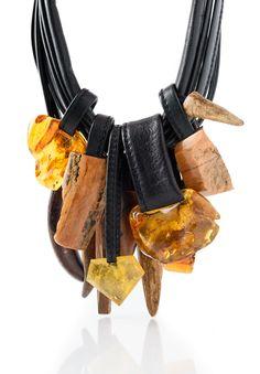 Monies UNIQUE Amber, Bone and Antler Necklace