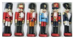 Christmas Decorative Wooden Soldier Nutcracker Ornament Set
