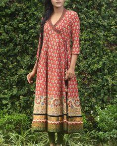 Rust Block Printed Angrakha I Shop at… Kurta Designs Women, Kurti Neck Designs, Dress Neck Designs, Blouse Designs, Kurtha Designs, Indian Fashion Designers, Indian Designer Wear, Indian Dresses, Indian Outfits