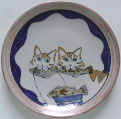 Highland Stoneware plate - cats eating fish