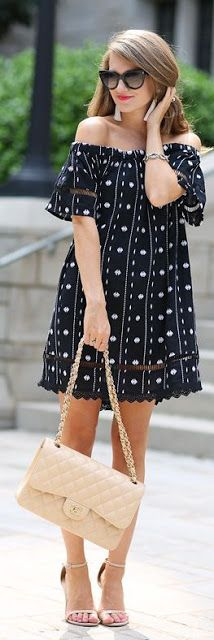 off shoulder black with white dots tunic dress - Women Cloth's