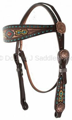 Painted Southwest Design Headstall by Double J Saddlery.