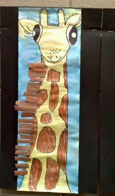Great Art lessons (Giraffe and Lion)  Materials: larger white paint resistant paper, yellow and brown tempera paint, sharpie markers, brown construction paper, glue sticks, elmers glue, and grass straw.