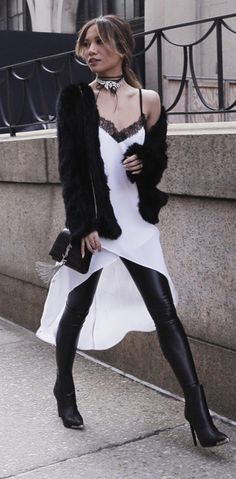 BCBG cami dress | leather leggings | fur jacket | street style |