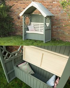 Rowlinson Windsor bench arbor with cushion storage box bench 45 Garden Arbor Bench Design Ideas & DIY Kits You Can Build Over Weekend Shed Design, Storage Design, Design Design, Arbor Bench, Garden Storage Shed, Pergola Pictures, Garden Arbor, Bench Designs, Best Flooring