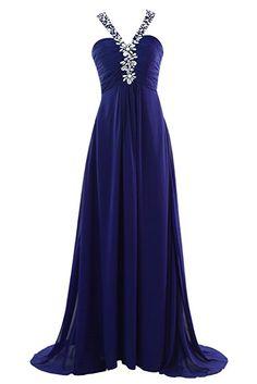 YiYaDawn Langes Elegantes Abendkleid Partykleid für Damen Größe 46 EU Königsblau
