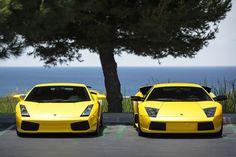 Lamborghini Gallardo and Murcielago by the Beach