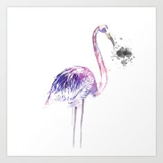 Flamingo Art Print by The Bearded Bird. - $14.00