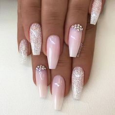 ✨ REPOST - - • - - White/Silver Glitter and Pale Pink with Crystals on long Coffin Nails ✨ - - • - ...