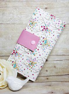Women's wallet with Floral Antlers, bifold clutch style wallet, fabric handmade wallet, slim money wallet, credit card wallet, gift ideas by BirdsandBagz on Etsy