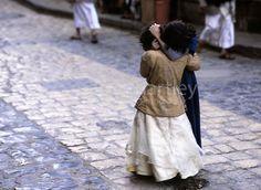 Two friends meet on a street in Sanaa' Yemen... An amazing moment