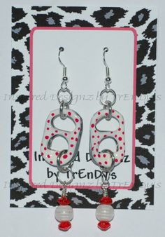 Upcycled Soda Pop Aluminum Can Pull Tab White Pinkish Red Polka Dots Dangling Earrings by InspiredDesignzByJK