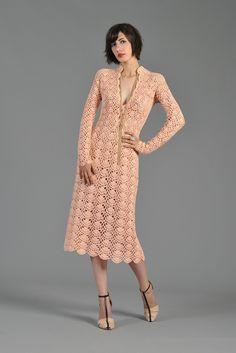 1970s Blush Colored Crochet Midi Dress w/Scalloped Hem | BUSTOWN MODERN