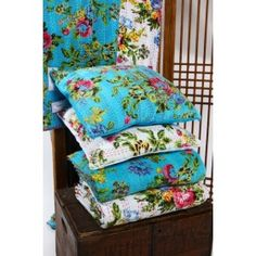 Cotton Cushion Covers Kantha Stitch - Teal or White Kantha Stitch, Cotton Quilts, Cushion Covers, New Homes, Teal, Cushions, Textiles, Blanket, Throw Pillows