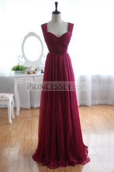 Wine Red Burgundy Chiffon Bridesmaid Dress Prom Dress See Through Back  ALEXIS