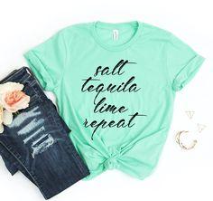 Salt Tequila Lime Repeat T-shirt - M / Royal Blue