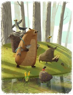 Story about how the forest animals preparing for war … Children book Illustration.Story about how the forest animals preparing for war :]Used photoshop and wacom intuos. Art And Illustration, Illustrations And Posters, Character Illustration, Illustration For Children, Animal Illustrations, Animation, Forest Animals, Illustrators, Concept Art