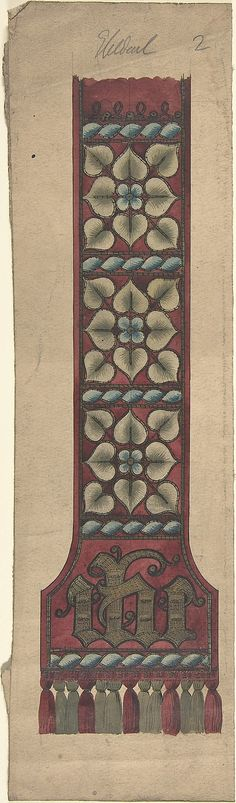 Design for a Stole or Maniple Ernest Geldart  (British, London 1848–1929) Date: late 19th–early 20th century Medium: Graphite, pen and ink with watercolor Classification: Drawings Credit Line: Exchange, Royal Institute of British Architects, 1960 Accession Number: 60.724.19