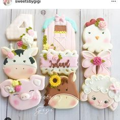 Hosting a farm-themed birthday party? These cookies are perfect for dessert or a party favor. Mcdonalds Birthday Party, 2nd Birthday Party Themes, 1st Birthday Girls, Birthday Ideas, Birthday Banners, Birthday Invitations, Farm Cookies, Cookies Et Biscuits, Horse Cookies