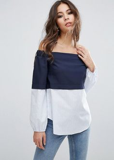15 off-the-shoulder tops to shop for Spring 2017 | ASOS Off Shoulder Top With Contrast Stripe Hem, $52; at ASOS