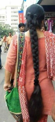 Slick Hairstyles, Long Hairstyles, Braided Hairstyles, Beautiful Braids, Beautiful Long Hair, Beautiful Women, Indian Braids, Long Indian Hair, Thick Braid