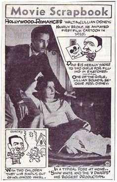 """Walt and Lillian Disney on the cover of """"Movie Scrapbook"""" December 1937"""