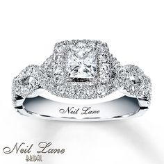 Neil Lane Engagement Ring 1 ct tw Diamonds 14K White Gold --- WOW.