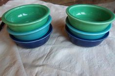 blue and green fiesta ware