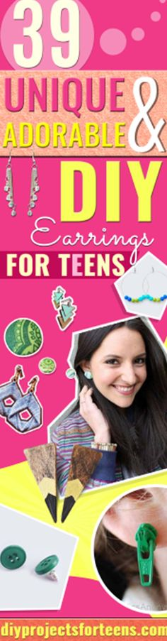 DIY Earrings and Homemade Jewelry Projects - Easy Studs, Ideas with Beads, Dangle Earring Tutorials, Wire, Feather, Simple Boho, Handmade Earring Cuff, Hoops and Cute Ideas for Teens and Adults #diygifts #diyteens #teengifts #teencrafts #diyearrings via @diyprojectteens Crafts To Make And Sell, Easy Diy Crafts, Creative Crafts, Fun Crafts, Sell Diy, Decor Crafts, Cool Diy Projects, Diy Projects For Teens, Crafts For Teens