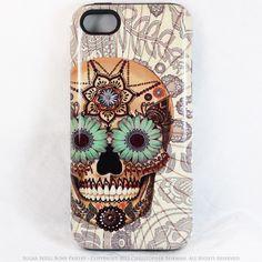 iPhone 5 5s TOUGH Case - Sugar Skull Bone Paisley - Dia De Los Muertos - Artistic Case For iPhone