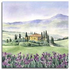 Prints of Tuscany Italy | Print of watercolour painting of Tuscany, by artist Lesley Olver